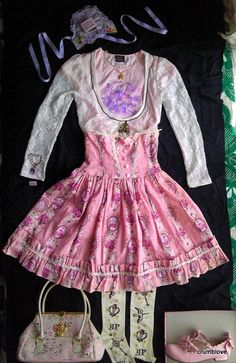 I added the AP French Biscuit Barette to my AnP Pink and Purple gothic lolita coord. Alice and the Pirates Aatp AnP, Angelic Pretty AP, Baby the Stars Shine Bright BtssB, Exentrique, Innocent World IW, Jane Marple JM, Metamorphose Meta