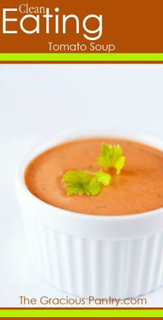 This clean eating tomato soup is so tummy warming on a cold night! Tomato soup is incredible stuff on a cold night. But did you know that this simple, healthy version is better then the canned stuff? Clean Eating Recipes, Healthy Eating, Cooking Recipes, Healthy Food, Clean Eating Chocolate, Clean Eating Soup, Whole Food Recipes, Healthy Recipes, Paleo