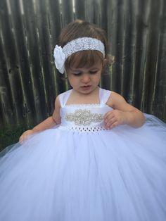 Flower Girl Tutu Dress, Vintage Inspired Tutu, Couture Tutu, Fancy Rhinestone…