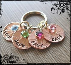 Mom/Grandma Penny Keychain. This is a hand stamped penny keychain. Comes with pennies for each years your kids/grandkids were born. Please list the names, penny years and birthstones for each child. Perfect Gift for Mom,or that special someone! Please let me know what birthstones and names and penny years you need. Note: Older pennies are extremely hard to come by. If you request a year and I don't have it I will just handstamp the year over the newest year of penny on hand.