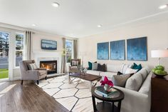 A Model Living Room at Country Pointe at Huntington
