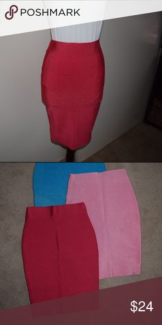 Hot Pink Bandage Skirt Knee length bandage skirt, super thick material. Pull over skirt Fast Shipping No Trades, accept offers  bundle discount with 2 items or more  Check out others items. Skirts Pencil