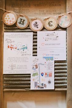 fun wedding invitations by Pins & Grins, photo by Hot Metal Studio http://ruffledblog.com/white-barn-wedding #weddinginvitations #stationery