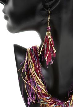 """Closeup of fiber necklace with matching earrings $35/necklace  $10/earrings.  Fiber Necklaces & Accessories . . . to make your outfit """"pop"""" www.fibernecklaces.com"""