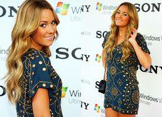 LC's indigo and gold dress