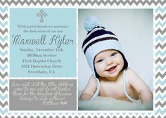 Printable Chevron Blue and Gray Baby Boy Baptism on Etsy, $9.99