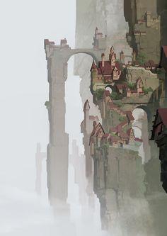悬崖边的房子, YU YIMING on ArtStation at https://www.artstation.com/artwork/1-29c84486-7f6d-4b63-8134-c61d225b1301