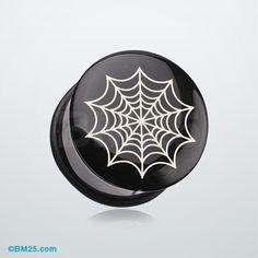 Spider Web Single Flared Ear Gauge Plug #piercing #eargauge #plugs #jewelry #fashion #bodyjewelry