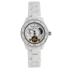 Henri LaPointe ladies mid-size automatic watch with white ...