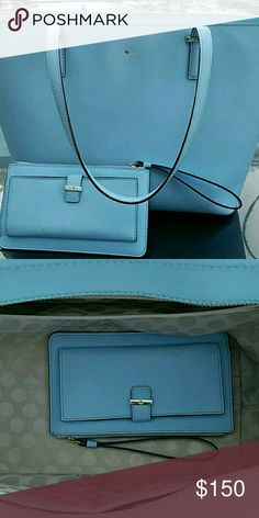 Kate Spade Tote and Wristlet Beautiful spring blue purse and wallet. Leather. Authentic. Purchased in June from Kate Spade store in Charleston, SC. Carried twice. kate spade Bags Shoulder Bags
