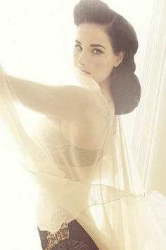 Dita's makeup and hair are so beautiful and very vintage.  Dita Von Teese's Von Follies lingerie line for Target.