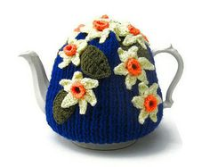 Crochet flowers teapot cozy