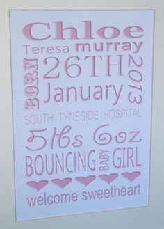 ♥ STUNNING PERSONALISED GIFT FOR A NEW BABY GIRL *A4 PRINT* SPECIAL MEMORIES ♥