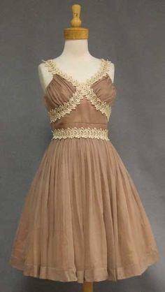 Tan Chiffon 1950's Cocktail Dress w/ Lace Trim