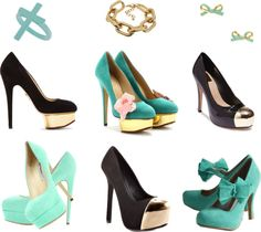 """mint & gold & black"" by lavagrantbelle on Polyvore"