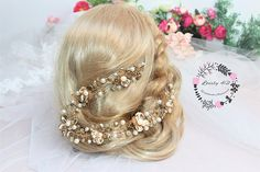 Floral Crown Pearl Bridal Tiara Bridal Diadem Crystal Floral Crown, Pearl Bridal Tiara, Bridal Diadem, Crystal Crown, Bridal Crown, Tiara Hairpiece, Wedding Hair Accessory, Hair Floral Vine