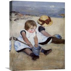 "Global Gallery 'Children Playing on the Beach 1884' by Mary Cassatt Painting Print on Wrapped Canvas Size: 30"" H x 23.4"" W x 1.5"" D"