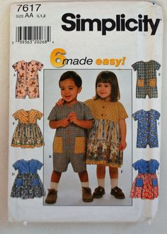 Simplicity Pattern 7617 - Toddler's Romper and Dress, Three Variations of Each,  Size (1/2, 1, 2) by littlerosecreations on Etsy
