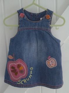 BABY BLUES  'Scrummy' dress Re-cycled - re-worked  now lined  6-9 mths   £12.50