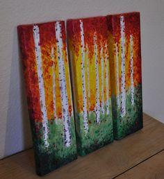 acrylic birch tree paintings   Like this item?