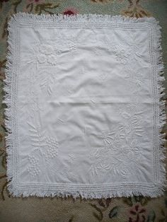 Mountmellick embroidered Victorian cover. Wedding Lace, Lace Weddings, Floral Embroidery, Monogram, Victorian, Quilts, Stitch, Blanket, Sewing