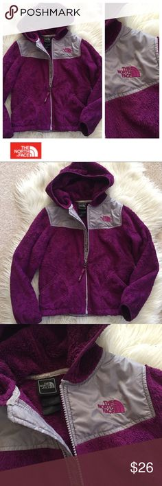 North Face Jacket (Purple) Adorable used North Face fleece hoodie jacket in deep royal purple. Size 7/8. Used condition, hence price — see photos for examples of condition. Great for school! Freshly washed and ready to go. Hope you enjoy! ❤️ The North Face Jackets & Coats