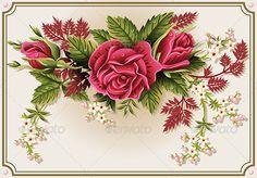Red Roses Ornament on Vintage Frame