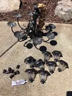 Solar Light Chandelier, Outdoor Chandelier, Diy Chandelier, Solar Lights, Backyard Projects, Outdoor Projects, Diy Projects To Try, Garden Projects, Outdoor Decor