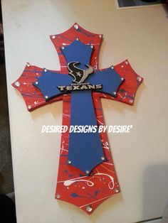 Houston Texans Stacked Wooden Cross by DesiredDes on Etsy, $31.00
