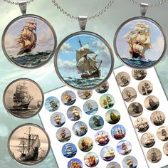 Sailing Old Ship images for Jewelry Making, Scrapbooking, Bottle caps Two Printable Digital Collage Sheet