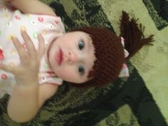 "MandaLynn's Crochet Treasures : Baby ""hair"" Hat ""Pony Tail"""