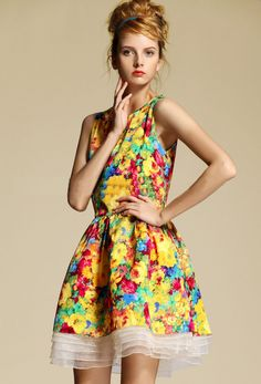 Morpheus Boutique  - Yellow Pattern Floral Sleeveless Layer Pleated Dress Pieces