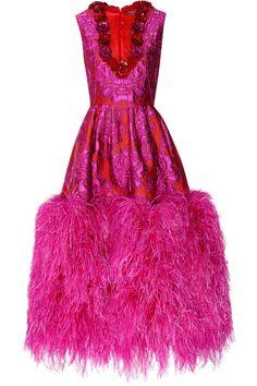 Alexander McQueen Feather-trimmed floral brocade gown 