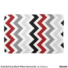 Modern Dark Red, Gray and Black Chevron Zigzag Pattern on White Kitchen Towels. A modern design in bold colors Matching Plates: Matching Pillows: Size: Kitchen Towel x Color: black/gray/red/white. Red And Grey, Dark Red, Black And White, Red Black, Black Kitchen Decor, Kitchen Ideas Red And Black, Kitchen Colors, Chevron Kitchen, Grey Kitchens