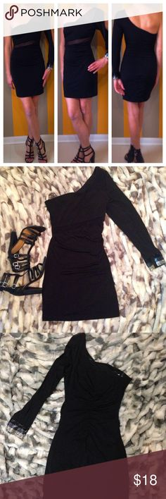 """The Perfect""""Little Black Dress"""" The Perfect""""Little Black Dress"""" long sleeve ruched one shoulder cocktail dress....excellent condition! Size M bundle deal the strappy heels also in my closet size 8! Emerald Sundae Dresses One Shoulder"""