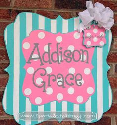 Personalized Stripe and Polkadot Sign  (Pink/ Bright Blue) Children  Housewares  Room Decor  Sign  personalize  door decor  door hanger  door decoration  baby shower TeamEtsyBABY  baby  monogram  hospital  Sparkled Whimsy  tiffany blue  pink