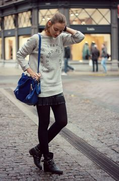 Polienne: SPECIAL BASICS Tomboy Chic, Zara Skirts, Fall Sweaters, Fall Winter Outfits, Tights, Bomber Jacket, Hipster, Street Style, Sweatshirts