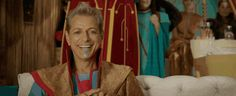 The Grandmaster (Jeff Goldblum) and Loki (Tom Hiddleston) watching the upcoming gladiator battle between Thor and the Hulk in the 'Thor: Ragnarok' trailer.