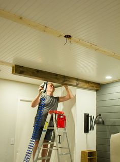 Master Makeover: DIY Wood Beams Alright, let's try this beam reveal thing again! Shortly after last week's post, my dad came by and we were able to finish the job. Here's how it all started… Most of you re… Fake Wood Beams, Faux Ceiling Beams, Wood Ceilings, Basement Ceilings, Diy Holz, Farmhouse Kitchen Decor, Ceiling Design, Home Projects, Home Remodeling