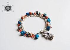 Charms bracelet, Beaded bracelet, Blue bracelet, Orange bracelet, Well pendant bracelet