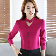 2017 New slim formal long sleeve women shirt OL autumn Elegant V neck lace Patchwork chiffon blouse office ladies plus size tops-in Blouses & Shirts from Women's Clothing & Accessories on Aliexpress.com | Alibaba Group