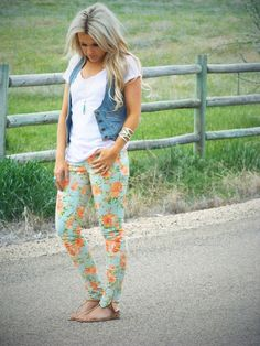 Have floral jeans, white tee, and the denim vest! Trendy Outfits, Summer Outfits, Cute Outfits, Womens Clothing Stores, Clothes For Women, Women's Clothing, Floral Jeans, Floral Leggings, Mom Style