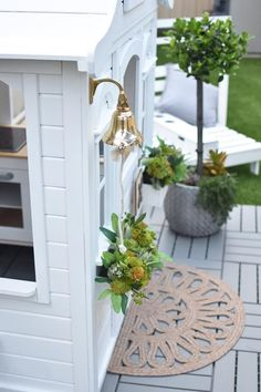 Alicia Adams of Hudson & Harlow tells us how she turned a basic cubby house from Kmart int… - Modern Costco Playhouse, Build A Playhouse, Painted Playhouse, Kids Cubby Houses, Play Houses, Little Tykes Playhouse, Ikea Cubbies, Baby Play Areas, Wendy House
