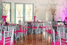 Silver Chiavari Chairs with Fuchsia Cushions