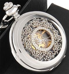 Reloj de bolsillo steampunk, mecánico. Permite ver su mecanismo.                                                                                                                                                                                 Más