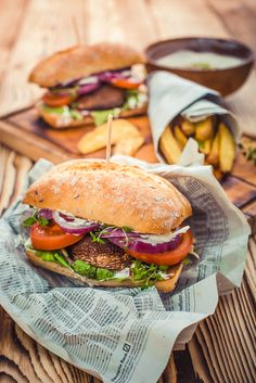 How to make a perfect vegetarian burger. Food photography. Healthy food recipe.