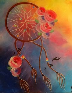 The mystical Catch My Dream painting. #dreamcatcher #colorful #easypainting…