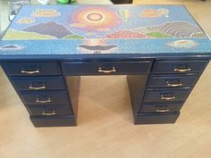 Pointillism desk with navy and gold. Top picture is comprised of approximately 50,000 painted dots.   Www.facebook.com/allthingspainted24