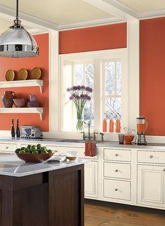 Benjamin Moore Paint Colors - Orange Kitchen Ideas - Ripened-Orange Kitchen - Paint Color Schemes . . . . . A strong reddish-orange shade conveys energy and confidence. . . . . . Wall - Fire Dance (2171-20); Ceiling - Jicama (AF-315); Trim - White Dove (OC-17).