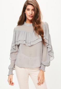 Missguided - Grey Chiffon Frill Blouse
